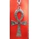 Chaveiro Prateado Cruz Egipcia - Strass Vermelho - 10cm