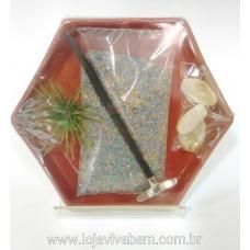 Jardim Zen Hexagonal 14x16 cm - Vermelho