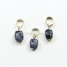 Pingente de Pedra Natural Obsidiana Floco de Neve Ref.PN:P0055